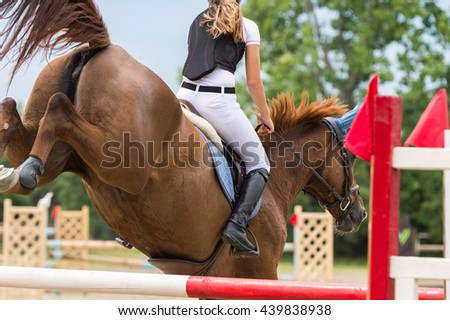 Equestrian Sports, Horse jumping, Show Jumping, Horse Riding  - stock photo