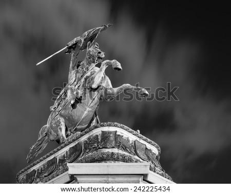 Equestrian statue of Archduke Charles of Austria in Heldenplatz, Vienna, Austria - stock photo