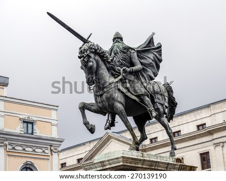 Equestrian statue of El Cid, Burgos, Spain - stock photo
