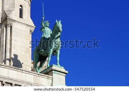 Equestrian statue of Joan of Arc in the Basilica of Sacre Coeur in Paris
