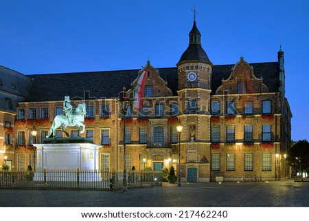 Equestrian statue of Johann Wilhelm II (Jan Wellem) and City Hall of Dusseldorf at dawn, Germany - stock photo