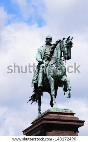 Equestrian statue of Kaiser Wilhelm I. in Karlsruhe - stock photo