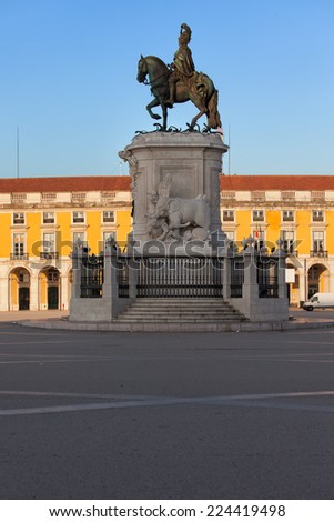 Equestrian statue of King Jose I from 1775 at sunrise on the Commerce Square (common name: Palace Square, Portuguese: Praca do Comercio, Terreiro do Paco) in Lisbon, Portugal. - stock photo