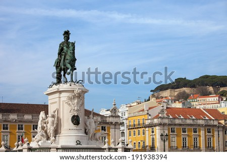 Equestrian statue of King Jose I from 1775 in Lisbon, Portugal. - stock photo