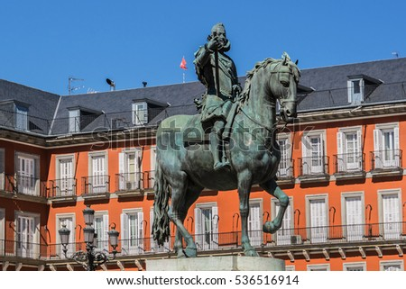 Equestrian statue of King Philips III on Plaza Mayor in Madrid, Spain. Bronze statue of King Philip III at the center of the square, created in 1616 by Jean Boulogne and Pietro Tacca.