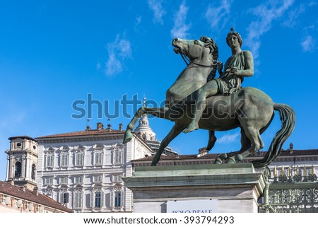 Equestrian statue of Pollux, Turin, Italy Turin,Italy,Europe - March 3,  2016 : The bronze equestrian statue of Pollux in front of Palazzo Reale