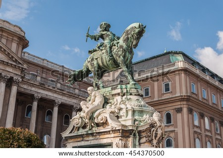 Equestrian statue of Prince Savoyai Eugen in front of the historic Royal Palace in Buda Castle. Budapest, Hungary.