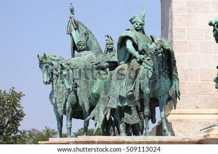 Equestrian statue of the Hungarian Chieftains in Heroes Square of Budapest