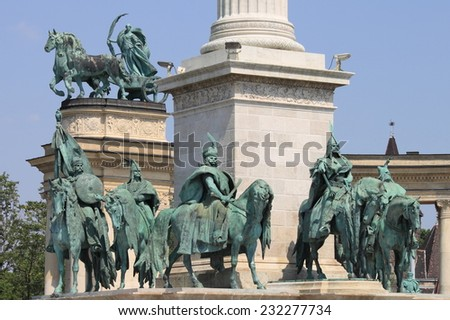Equestrian statues of the Hungarian Chieftains in Heroes Square of Budapest - stock photo