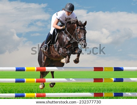 Equestrianism: Young girl in jumping show - stock photo