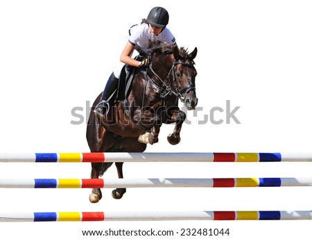 Equestrianism: Young girl in jumping show, isolated on white background