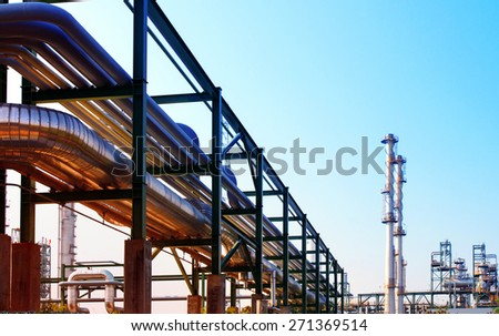 equipment and pipe line tube in industry estate scene use for industrial and petrochemical industry background,backdrop - stock photo