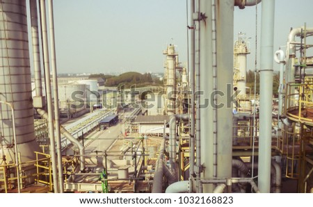 equipment and pipe system in process area of chemical plant