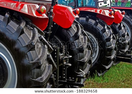 Equipment for agriculture, presented to an agricultural exhibition. - stock photo