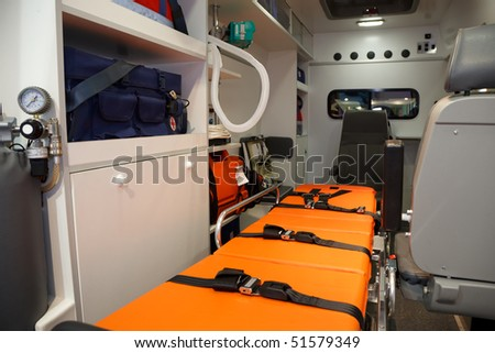 Equipment for ambulances. View from inside.