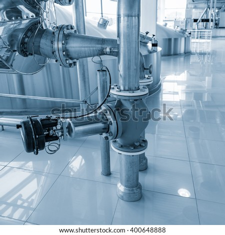 Equipment for brewing beer on the plant territory. - stock photo