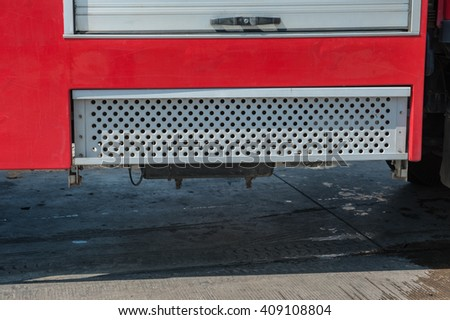 Equipment for fire fighting vehicle. - stock photo