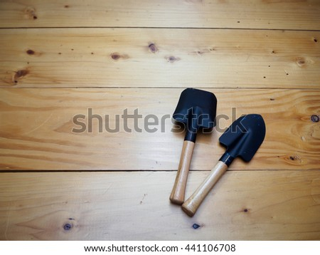 Equipment for gardening on wood table , texture and background - stock photo