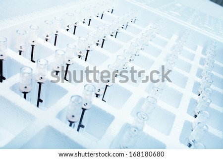Equipment for laboratory research. Mini tubes.  - stock photo