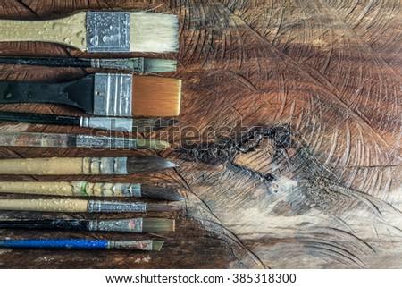 Equipment for painting and airbrush equipment - stock image - stock photo