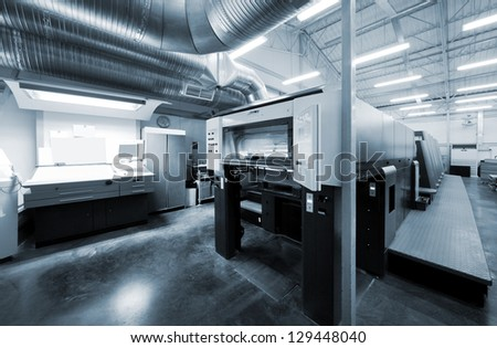 equipment for printing in a modern printing house - stock photo