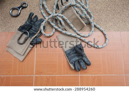 Equipment for work at heights - stock photo