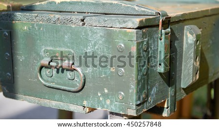 Equipment military old case box - stock photo