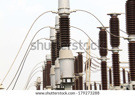Equipment of high-voltage substation.Part of high-voltage substation - stock photo