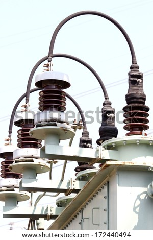 Equipment of high-voltage substation.Part of high-voltage substation with contacts of high-voltage transformer - stock photo