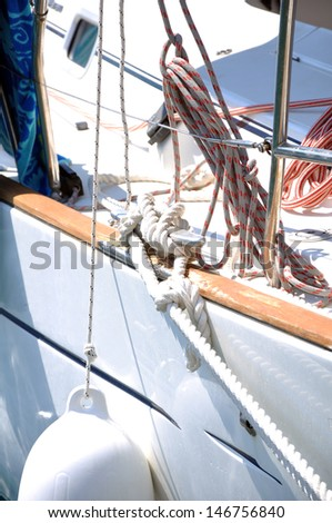 Equipment of sailing vessel - stock photo