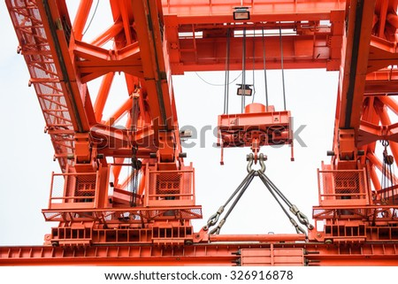 Equipment parts for construction crane on a background construction - stock photo