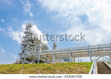 equipment,tank and pipe of oil refinery plant - stock photo