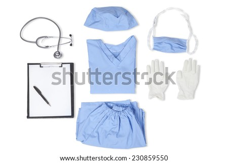 Equipments of surgeon with uniform, stethoscope, clipboard, gloves, mask, and hat - stock photo