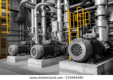 equipments, pipes in a modern thermal power plant - stock photo