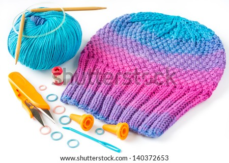 Equipments Used Knitting Moss Pattern Hat Stock Photo Royalty Free