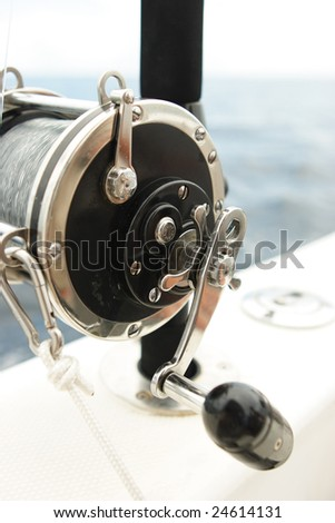 Equipped spinning on the cruising yacht - stock photo