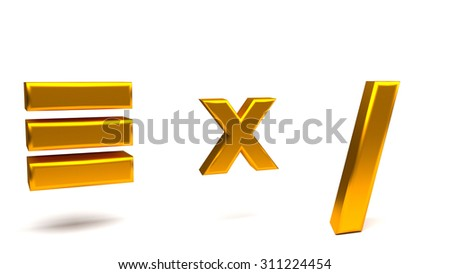 Equivalent, multiply and division 3D signs, with big golden fonts isolated on white background. Rendered illustration. - stock photo