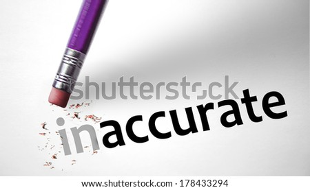 Eraser changing the word Inaccurate for Accurate - stock photo