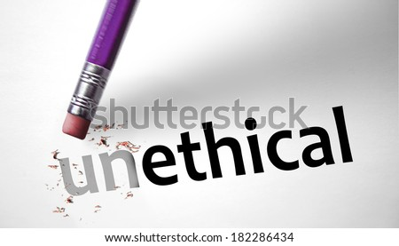 Eraser changing the word Unethical for Ethical - stock photo