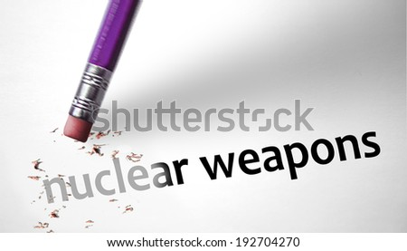 Eraser deleting the concept Nuclear Weapons  - stock photo