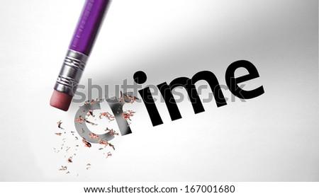 Eraser deleting the word Crime - stock photo