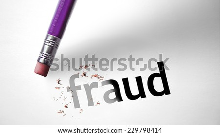 Eraser deleting the word Fraud - stock photo