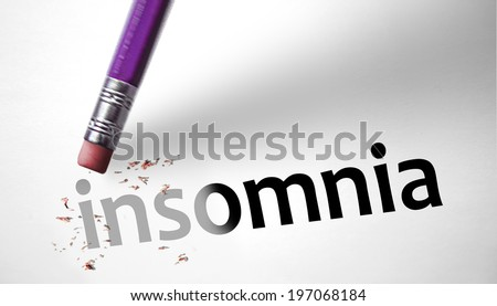 Eraser deleting the word Insomnia - stock photo