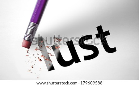 Eraser deleting the word Lust - stock photo