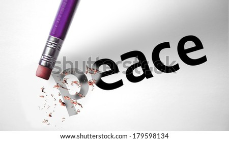 Eraser deleting the word Peace - stock photo