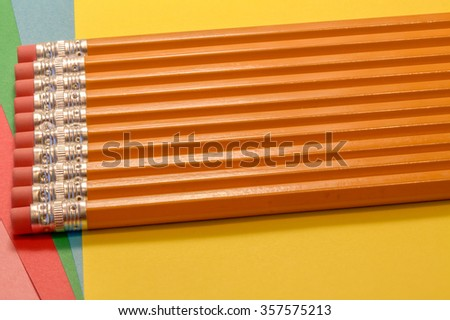 eraser tipped pencils and colourful paper for office,school and home use