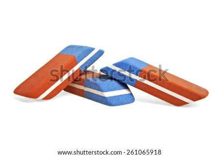 Erasers isolated on a white background - stock photo