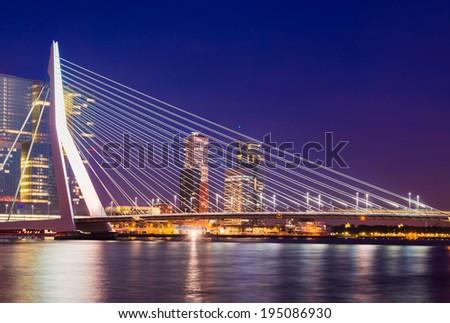 Erasmus Bridge at Night, Rotterdam, The Netherlands - stock photo