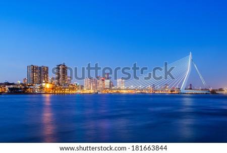 Erasmus Bridge at Twilight, Rotterdam, The Netherlands - stock photo