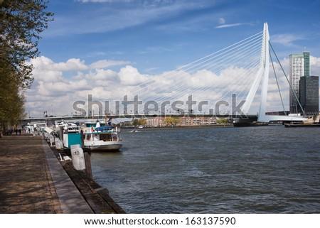 Erasmus Bridge (Dutch: Erasmusbrug) in the city center of Rotterdam, Netherlands, South Holland province. - stock photo